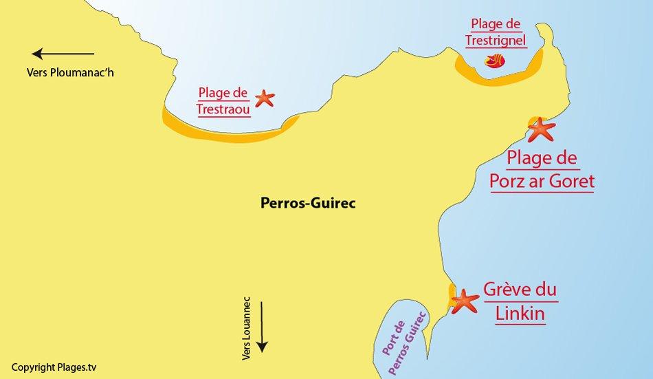 Carte des plages de Perros Guirec