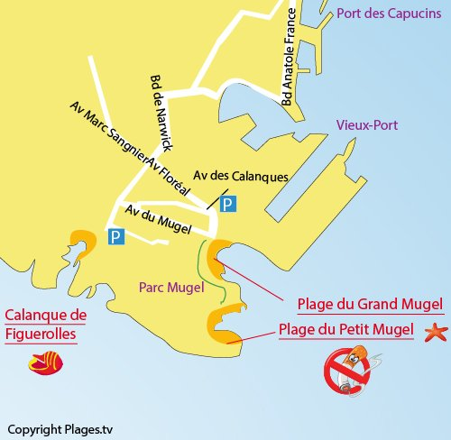 Map of the Petit Mugel Calanque in La Ciotat