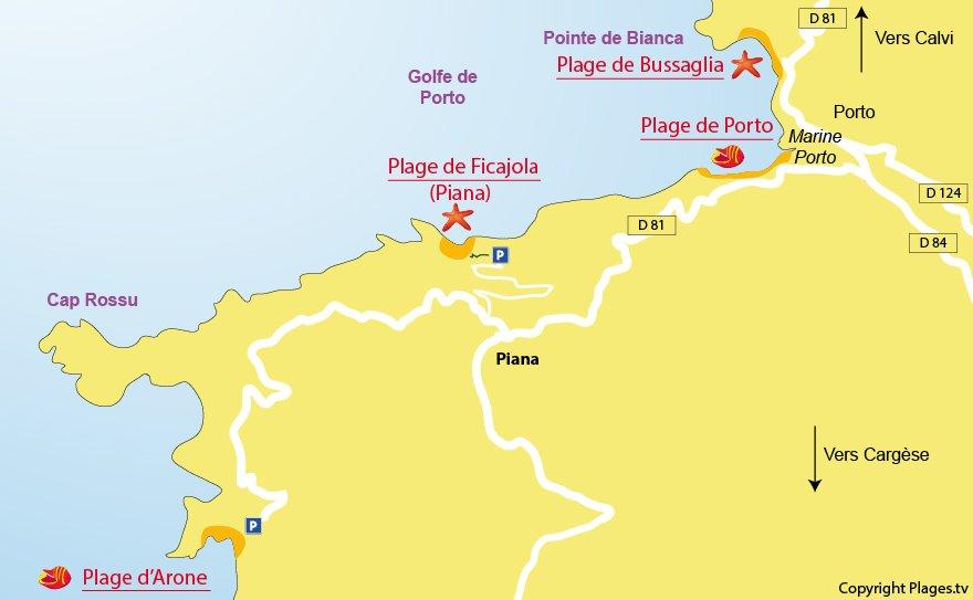 Plan des plages de Piana en Corse