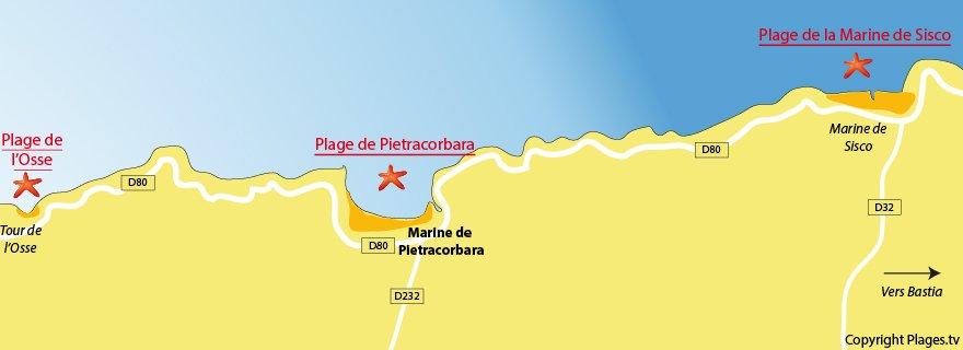 Plan de la plage de Pietracorbara en Corse (Nord de Bastia)