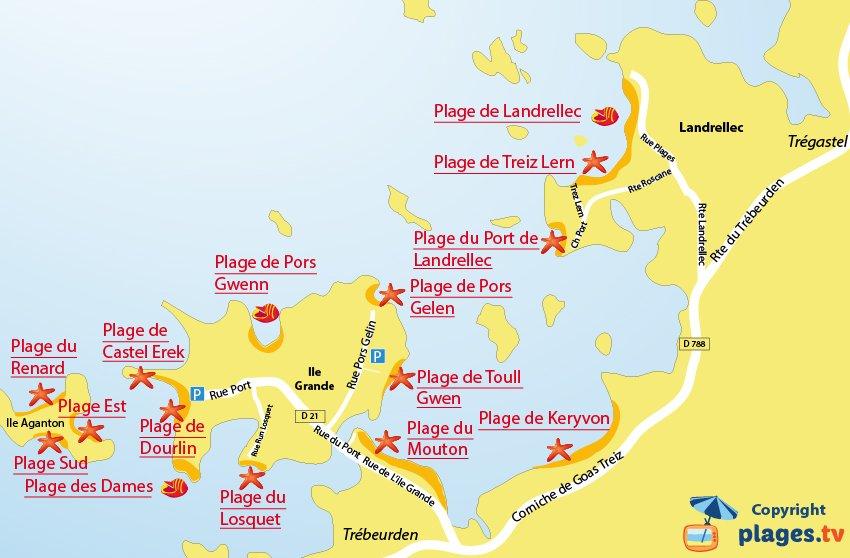 Carte des plages de Pleumeur Bodou
