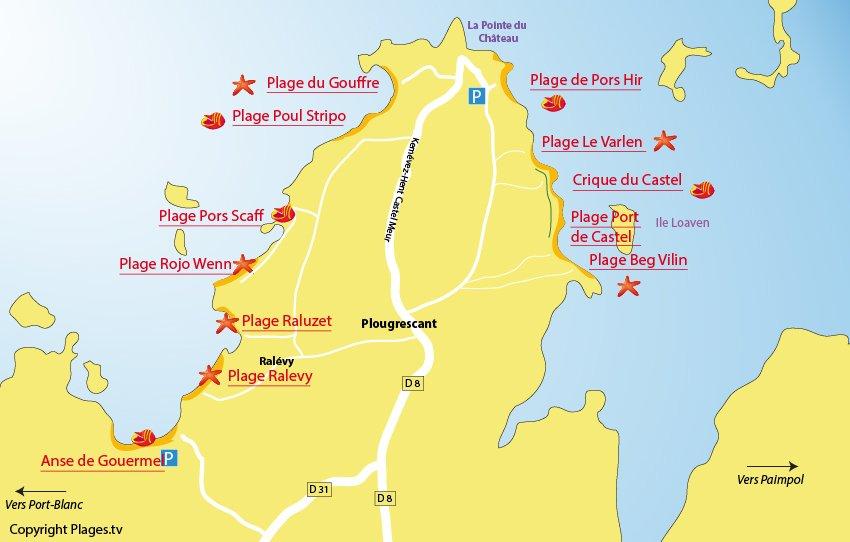 Plan des plages à Plougrescant en Bretagne
