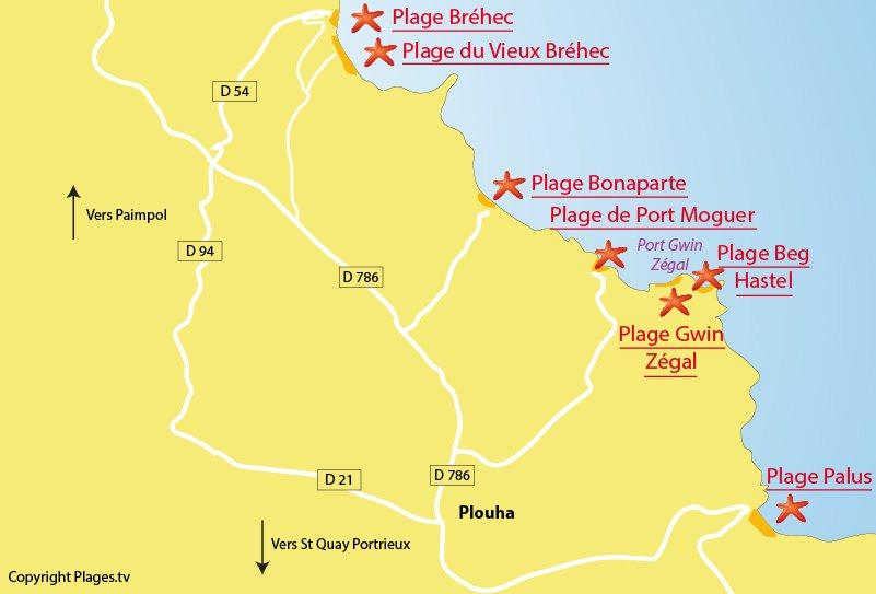 Plan des plages de Plouha en Bretagne