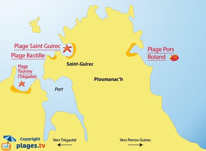 Carte des plages de Ploumanac'h en Bretagne