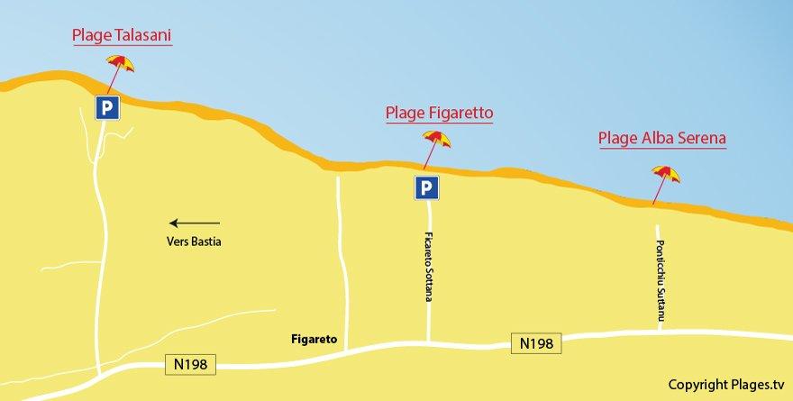 Plan des plages de Poggio Mezzana en Corse