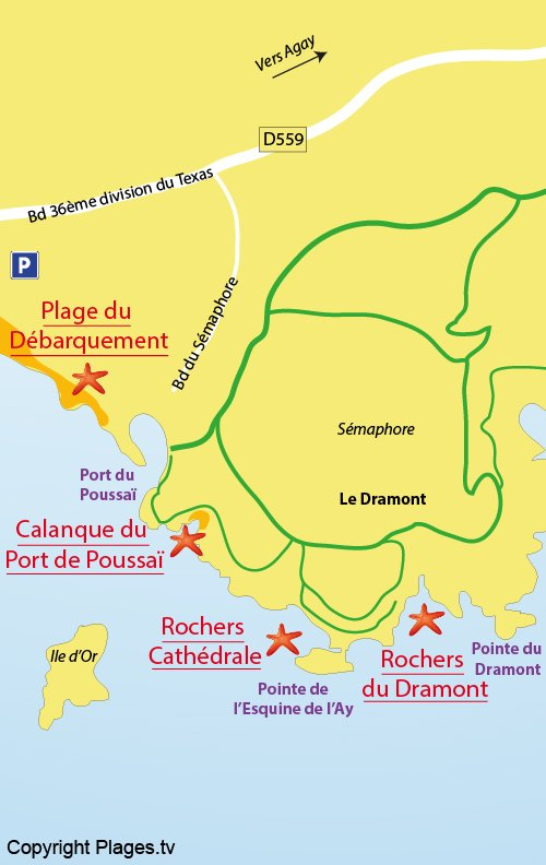 Map of the naturist beach in Dramont - Saint-Raphael