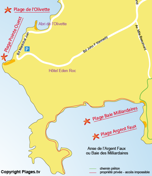 Map of Pointe Ouest Beach in Cap d'Antibes