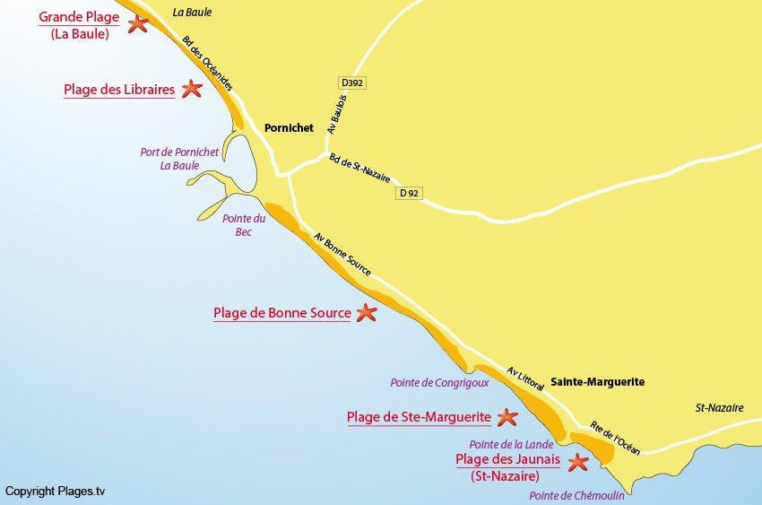 Plan des plages de Pornichet (44)