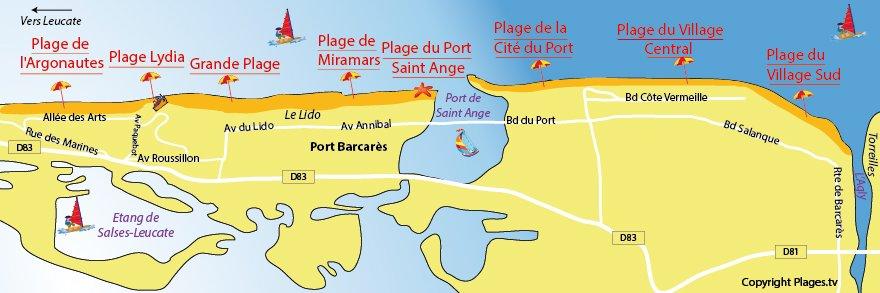 Carte des plages de Port Barcarès