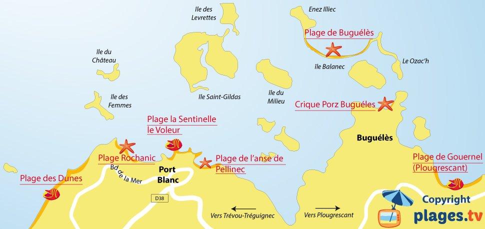 Carte des plages de Port Blanc et de Penvénan en Bretagne