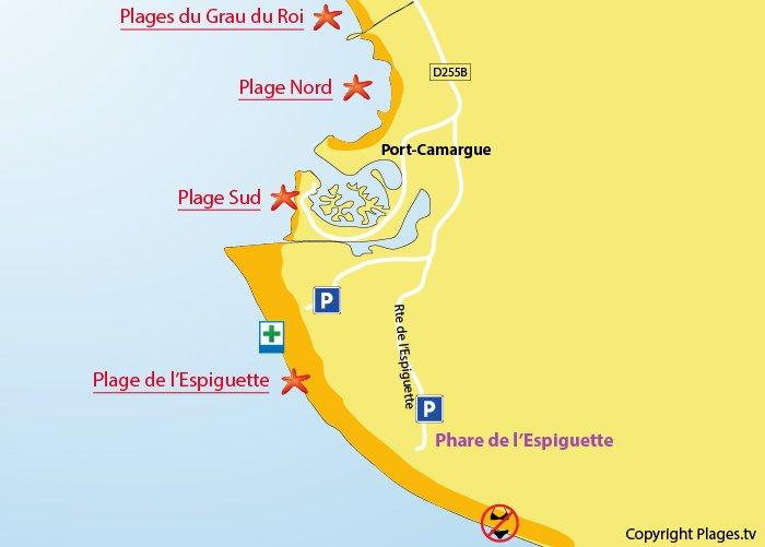 Carte des plages de Port Camargue