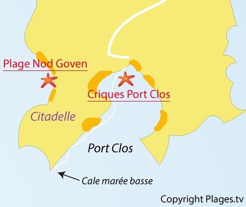 Carte des plages à Port Clos - Ile de Bréhat
