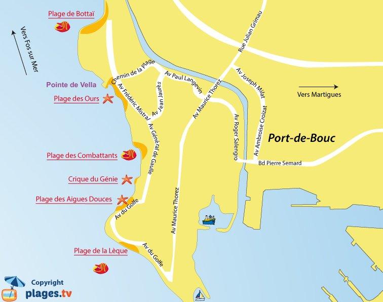 Carte des plages de Port de Bouc