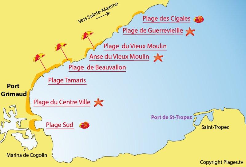 Carte plages Port-Grimaud