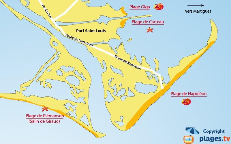 Carte des plages de Port Saint Louis