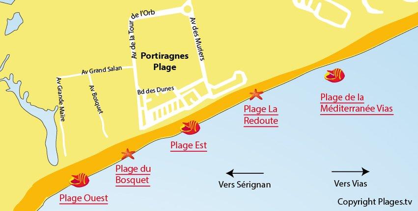 Carte des plages à Portiragnes dans l'Hérault