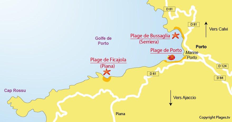 Carte des plages de Porto en Corse