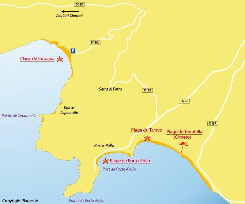 Carte des plages de Porto Pollo en Corse