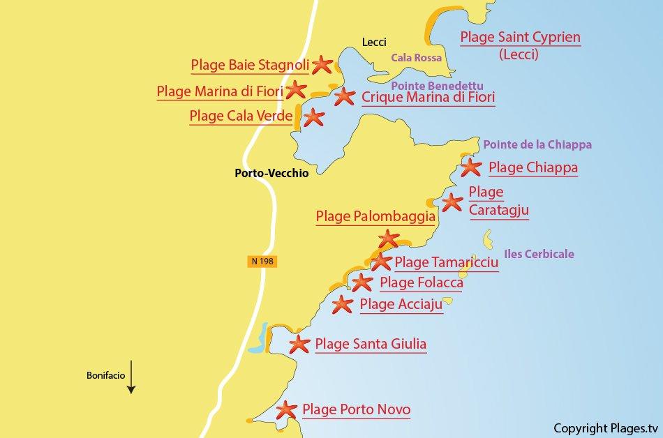 Carte des plages de Porto Vecchio