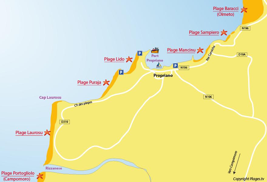 Carte des plages de Propriano en Corse