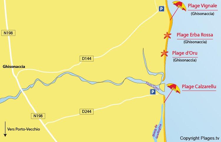 Carte des plages des environs de Prunelli du Fiumorbo en Corse