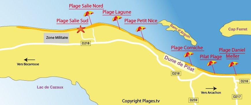 Carte des plages de Pyla sur Mer