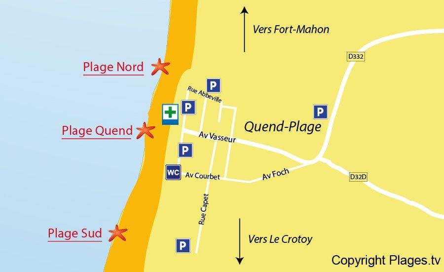 Carte des plages de Quend dans la Somme