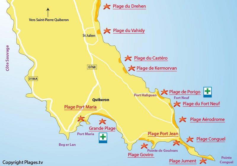 Carte des plages de Quiberon