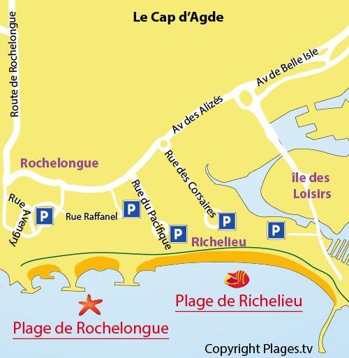 Plan de la plage de Richelieu au Cap d'Agde