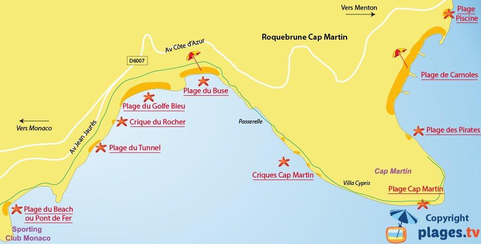 Plan des plages de Roquebrune Cap Martin 06
