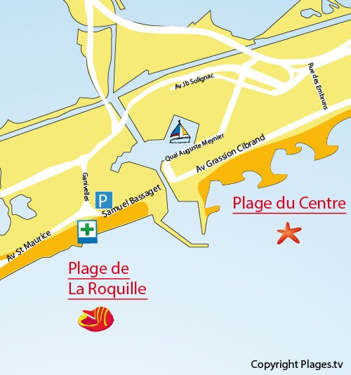 Map of Roquilles Beach in Carnon-Plage