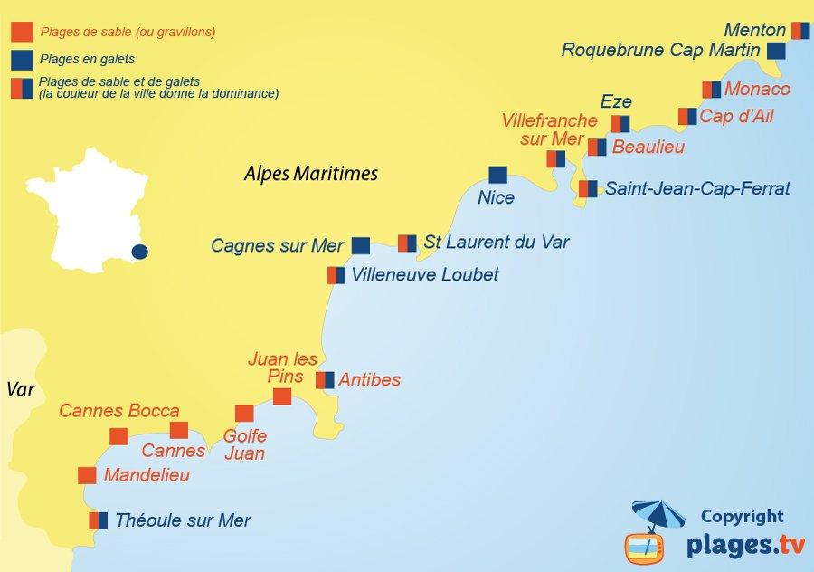 Carte des plages de sable et de galets dans les Alpes Maritimes