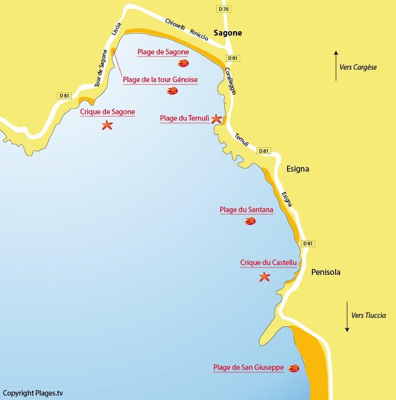 Carte des plages de Sagone en Corse