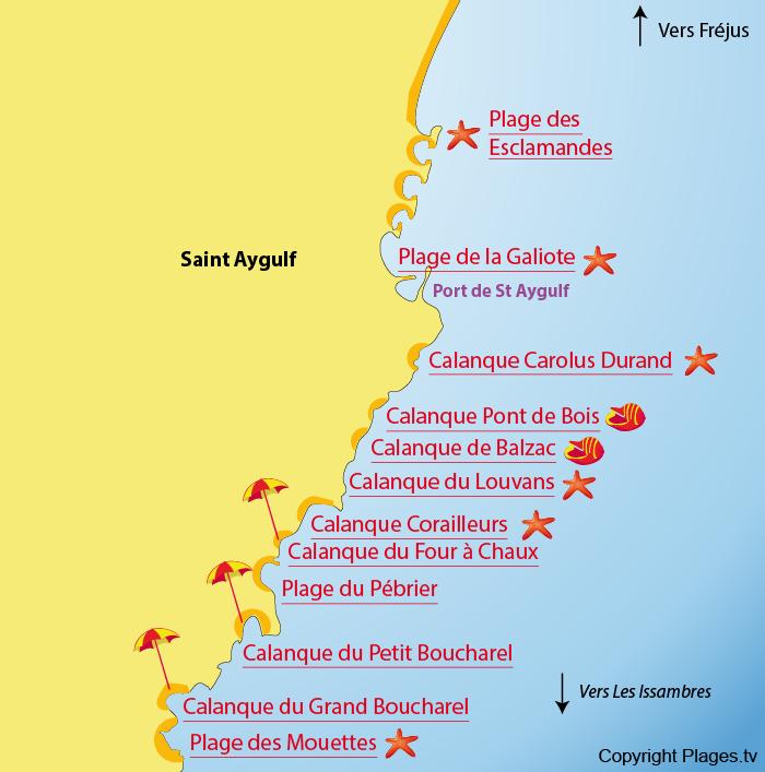 Carte des plages de Saint Aygulf - 83