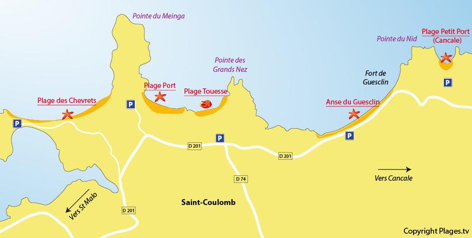 Plan des plages de St Coulomb en Bretagne