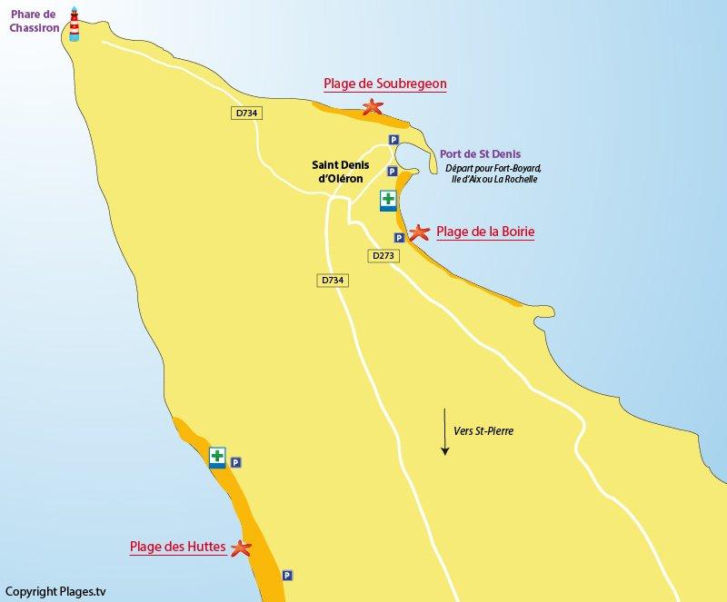 Carte des plages de St Denis d'Oléron