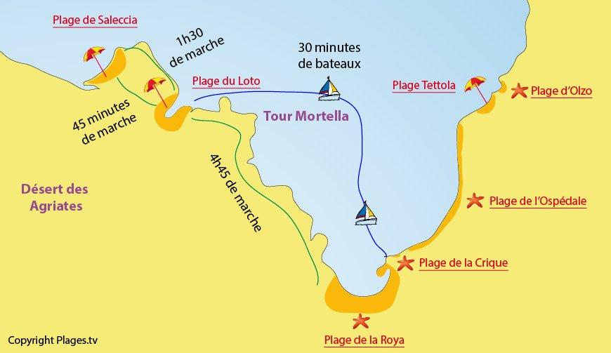 Mappa spiagge San Fiorenzo in Corsica (Saint Florent)