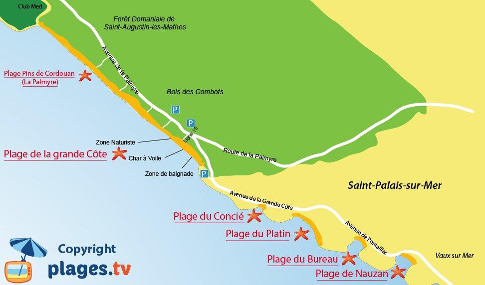 Carte des plages de Saint Palais sur Mer en Charente Maritime