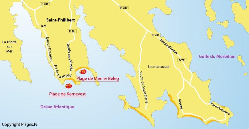 Carte des plages de Saint Philibert dans le Morbihan