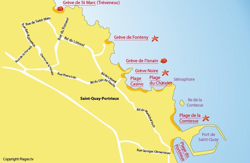 Carte des plages de Saint Quay Portrieux dans les Côtes d'Armor