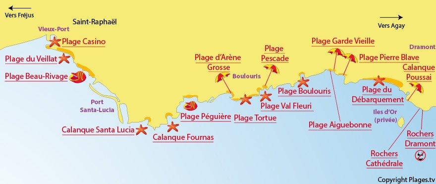 Plan des plages de Saint-Raphaël Var