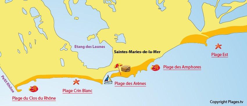 Carte des plages des Saintes-Maries de la Mer