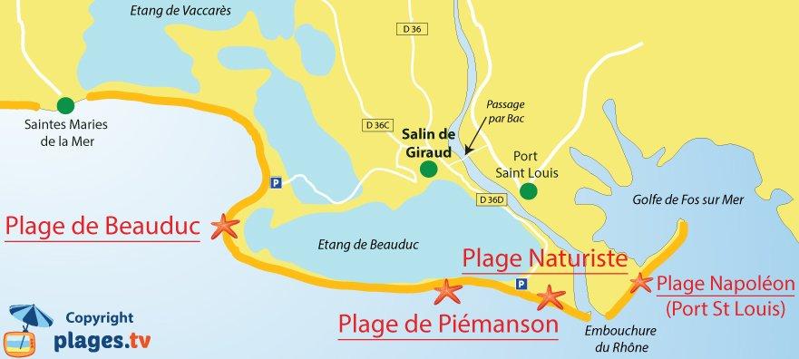 Plan des plages de Salin de Giraud et Arles