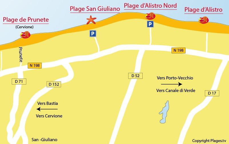 Carte des plages de San Giuliano en Corse