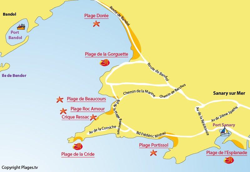 Carte des plages de Sanary sur Mer dans le Var