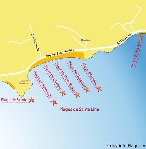 Plan des plages de Santa Lina à Ajaccio