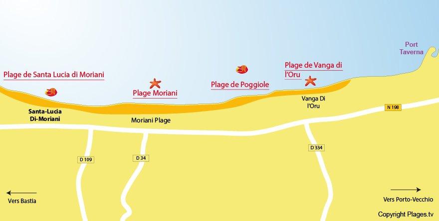 Plan des plages dans les environs de Santa Lucia di Moriani - Corse