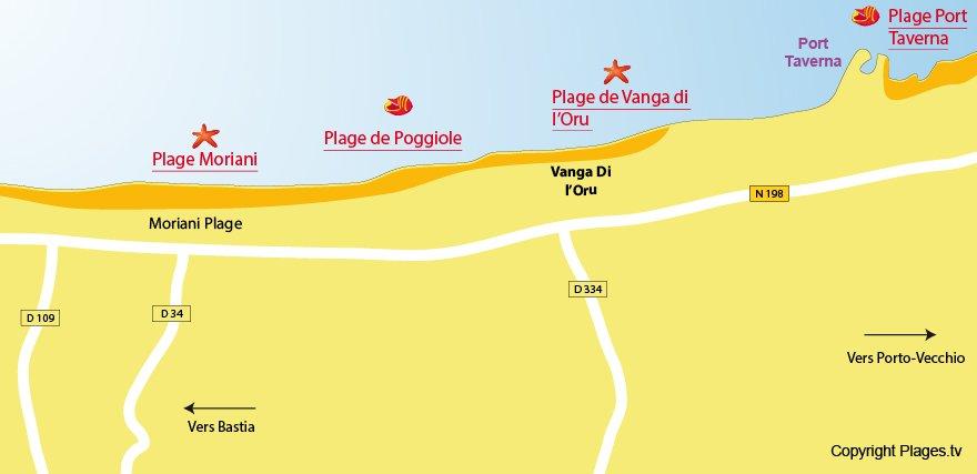 Plan des plages de Santa Maria Poggio en Corse