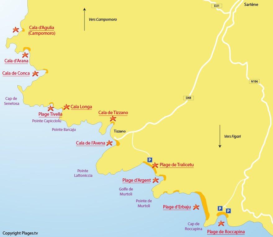 Plan des plages de Sartène