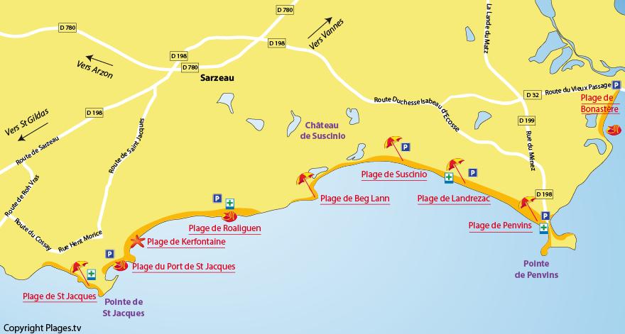 Plan des plages de Sarzeau dans le Morbihan